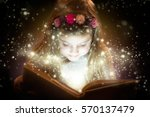 pretty little girl reading...   Shutterstock . vector #570137479