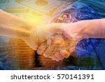 double exposure business hand...   Shutterstock . vector #570141391