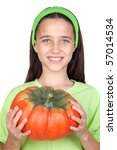 happy girl in halloween with a... | Shutterstock . vector #57014534