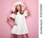 blonde young woman in elegant... | Shutterstock . vector #570153487