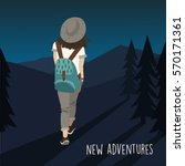 woman traveler with backpack... | Shutterstock .eps vector #570171361