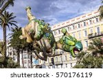 Small photo of NICE - FRANCE - March 01, 2014: Carnival of Nice, Flowers' battle. Aerostatic dragon