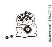 hand drawn bag with coffee... | Shutterstock .eps vector #570177445