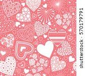 cute hearts seamless background.... | Shutterstock .eps vector #570179791