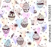 cupcakes seamless pattern with... | Shutterstock .eps vector #570180355