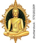 buddha in gold frame.vector | Shutterstock .eps vector #570181009