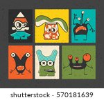 set of six retro postage s... | Shutterstock .eps vector #570181639