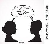 girlfriends  two women  talking ... | Shutterstock .eps vector #570185581