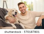 cool dog and young man having... | Shutterstock . vector #570187801