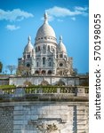 low angle view on sacre coeur... | Shutterstock . vector #570198055