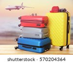 travel concept. suitcases in... | Shutterstock . vector #570204364