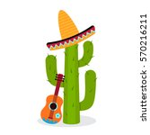 cactus in sombrero with a... | Shutterstock .eps vector #570216211