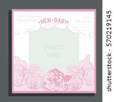 baby arrival card with roses | Shutterstock .eps vector #570219145