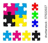 cmyk and rgb jigsaw puzzle... | Shutterstock .eps vector #57022027