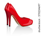 vector red realistic women shoes | Shutterstock .eps vector #570234697
