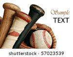 wooden baseball bats with ball...   Shutterstock . vector #57023539