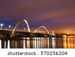 jk bridge on sunrise. brasilia  ...   Shutterstock . vector #570256204