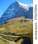 swiss mountain train crossed... | Shutterstock . vector #570270541