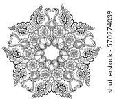 vector henna tatoo mandala.... | Shutterstock .eps vector #570274039