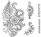 set of mehndi flower pattern... | Shutterstock .eps vector #570279775
