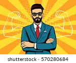 hipster beard businessman with... | Shutterstock .eps vector #570280684