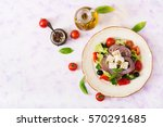 greek salad with fresh tomato ... | Shutterstock . vector #570291685