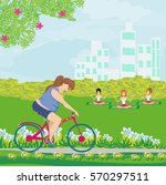 overweight woman ride on bike   Shutterstock . vector #570297511