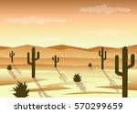 desert landscape flat design | Shutterstock . vector #570299659
