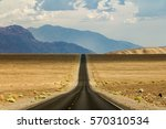 Lonely Desert Road Through The...