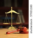 Justice Scale And Wood Gavel ...