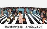 illustration of mixed ethnic... | Shutterstock .eps vector #570312529
