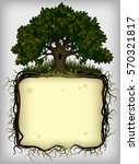 oak tree with roots frame.... | Shutterstock .eps vector #570321817