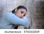 young beautiful sad and... | Shutterstock . vector #570332839