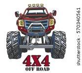 cartoon monster truck. extreme... | Shutterstock .eps vector #570340561