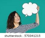 Woman Hold Blank Speech Bubble...