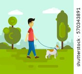 young man walking with dog in... | Shutterstock .eps vector #570343891