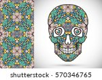day of the dead colorful sugar... | Shutterstock .eps vector #570346765