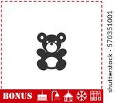 teddy bear icon flat. simple... | Shutterstock . vector #570351001