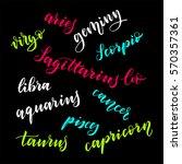 set of handwritten zodiac sign...   Shutterstock .eps vector #570357361