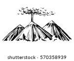 eruption. three mountains.... | Shutterstock .eps vector #570358939