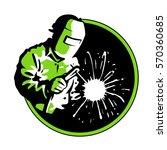 logo welder green silhouette  ... | Shutterstock .eps vector #570360685