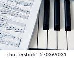 Close Up Music Score On Piano...