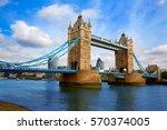 london tower bridge on thames... | Shutterstock . vector #570374005