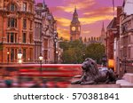 london trafalgar square lion... | Shutterstock . vector #570381841