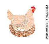 colorful hen and eggs logo. hen ... | Shutterstock .eps vector #570386365
