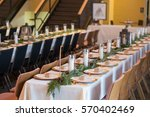 wedding reception tables with...   Shutterstock . vector #570402469