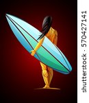 surfing girl | Shutterstock .eps vector #570427141
