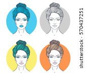 beautiful girl faces with... | Shutterstock .eps vector #570437251