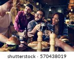 diverse people hang out pub... | Shutterstock . vector #570438019