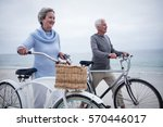 senior couple having ride with... | Shutterstock . vector #570446017